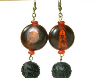 Red Horn Earrings,  Black Good Luck Bead, Black Cinnabar Earrings, E433
