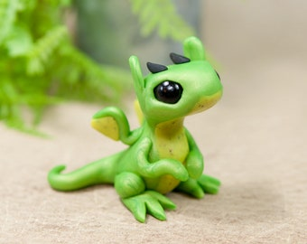 Bright Green Dragon Hatchling, Green Dragon Sculpture, Dragon Figurine, Dragon Figure, Green Dragon, Cute Dragon, Dragon Baby, Hatchling