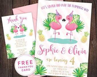 Twin Flamingo invitation, Flamingo party, pool party, pool party invitation, flamingo invitation, pineapple invitation, flamingo pool party