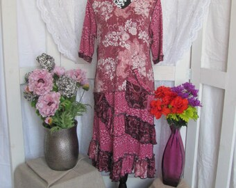 Fuschia Upcycled T-Shirt Dress