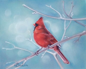 "Original oil painting of a cardinal ""Frosty morning"" 8x10"" oil on gallery wrapped canvas."