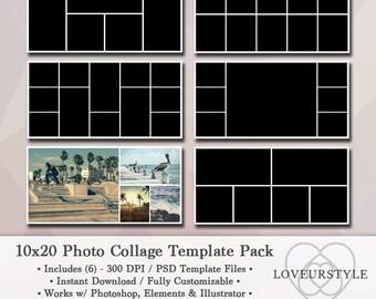 Descargar paquete de plantilla de la foto de 10 x 20, Foto Collage, plantilla de fotografía, Diseño Digital, Storyboard, plantilla de Blog, instante, Photoshop