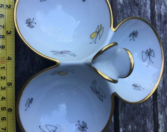 Mid-Century Porcelain 3-part Candy Dish, Serving, Butterfly, MCM, Thomas R, Germany