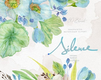 Silence Flowers Watercolor Clipart - Spring Flowers Clipart - Floral Clipart, Wedding Flowers, Wedding Invitation, DIY Invitations, Prints