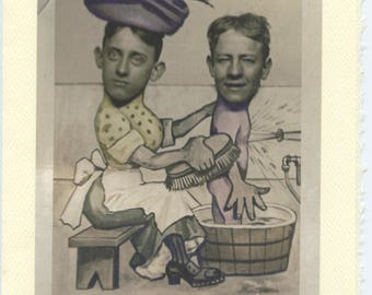 Scrubbing Duo: Vintage LGBTQ+ Card - gay dads adoption shower card, gay husbands photo, Father's day card, hand colored photo circa 1930