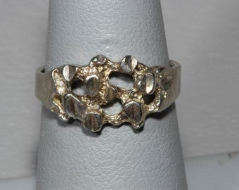 Brutalist Sterling Silver Signed ISC Ring Size 6
