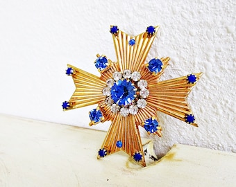 Blue and Clear Crystal, Brooch, Blue Brooch, Royal Blue, Clear Crystals, Cobalt Blue, Maltese Cross, Handmade, Modern Brooch