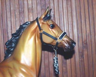 Padded Leather Halter, Black&White, Breyer Stone Model Horse, Traditional 1:9 LSQ