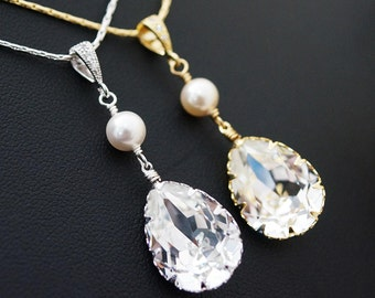 Bridal Necklace Bridesmaid Necklace Clear White Swarovski Crystal Tear drop