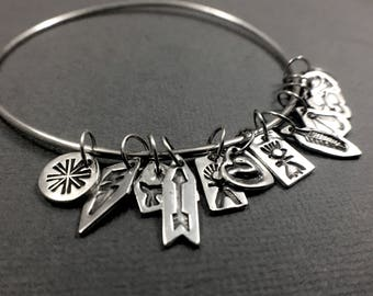 Tiny Charm Bangle - Sterling Silver Bangle with a Dozen Tiny Stamped Native American Style Charm Bracelet