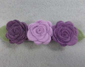 Hair Clip Barrette Made-To-Order - Purple, Felt Flower, Felt Barrette Felt Clip, Flower Hair, Artificial Flower, Fake Flower, Flower Clip