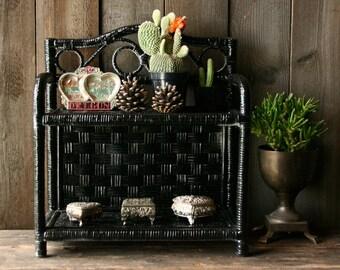 Black Wicker Shelves Tabletop or Hanging Display Spice Vintage From Nowvintage on Etsy