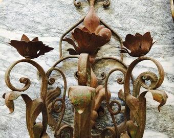 Antique Florentine Wall Candelabra Sconce Green