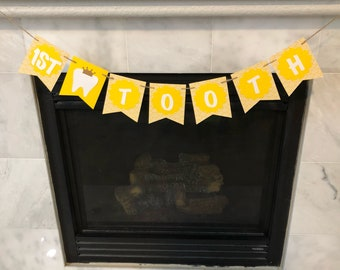 First tooth banner, Teething party banner, teething party decorations, Atam Hatik party, first tooth banner, yellow banner, yellow and white