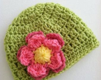 Crochet Baby Hat with Flower, Crochet Baby Hat, Newborn Hat, Baby Hat, Apple Green Hat, Hat with Flower, Baby Girl Hat, Baptism