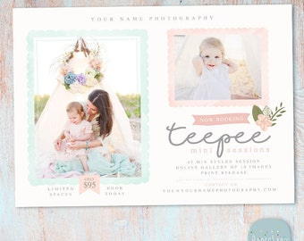 Teepee Mini Session Marketing Board - Photoshop Template IG012 - INSTANT DOWNLOAD