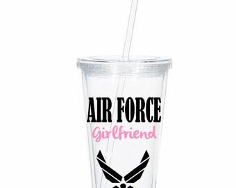 Personalized Air Force Girlfriend Tumbler, Air Force Wife, Air Force Girlfriend Deployment Gift, Deployment tumbler, Military Spouse