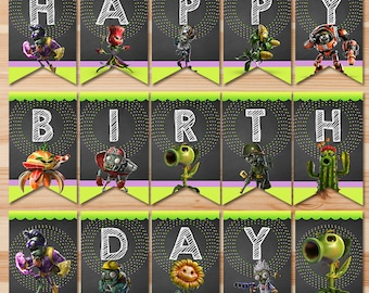 Plants Vs Zombies Garden Warfare Happy Birthday Banner - Chalkboard - PVZ Bunting - Plants Vs Zombies Banner - Garden Warfare Party Favor