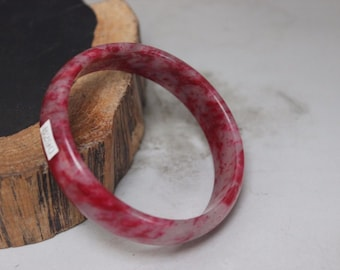 10% OFF- 55/56/57 mm Certified Natural Red Emerald A*Jade Handcarved Bangle B290