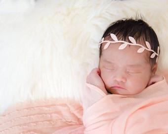 Pale Blush Halo Leaf Headband, New Born Headband, New Born Photo Prop, Baby Girl Headband