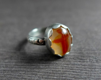 Cross Agate Sterling Silver Ring, Jerusalem Stone Silver Ring, Religious Christian Gemstone Cross Ring, Size 7.5 7.75 Ring