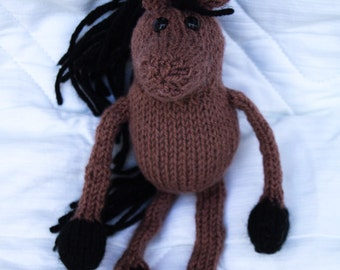Small Knitted Horse Toy - Bay
