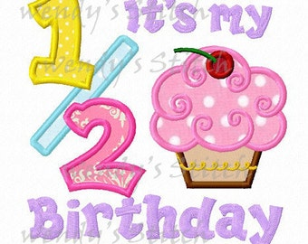 It's my 1/2 half cupcake birthday applique machine embroidery design instant download