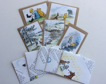 Winnie-the-Pooh Blank Greeting Birthday Thank You Baby Shower Cards, Set of 5