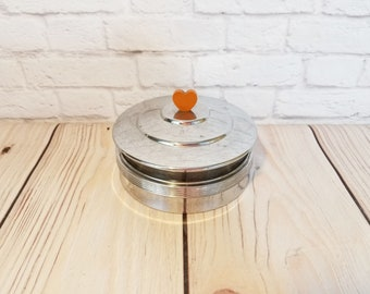 Vintage Glass Metal Dresser Jar Box Bakelite Heart