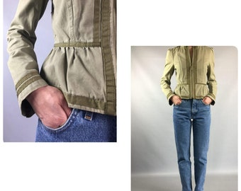 Fitted 1990's Vintage Jacket Green Olive Small Sz 6 Us 8 UK Cropped Ladies Jacket Zipper Long Sleeves Spring Jacket Bow Blazer 90's Formal