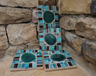 NEW AGATE Mosaic Coasters turquoise Rich colors metallic italian glass tile