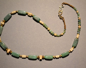 Green Adventurine Necklace with Handmade Stoneware Carved and Impressed Beads , Green Jasper Beads and Natural Brass Beads and Clasp