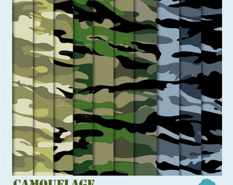 CLEARANCE Sale! Digital Scrapbooking Paper Pack: Military Camouflage, Instant Download
