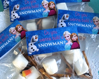 Frozen Birthday Party Favor Cellophane Bag Topper Label, Instant download Do You Want To Build A Snowman