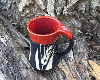 Red Black and White Pottery Mug Wheat Design Handmade by Daisy Friesen