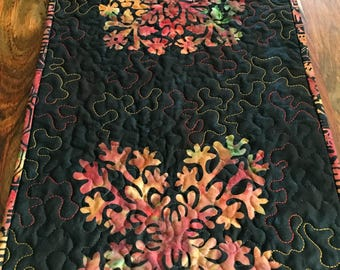 Batik Table Runner - Quilted Table Runner - Reversible Table Runner - Altar Cloth - Kitchen Decor - Housewarming Gift - Gifts Under 40