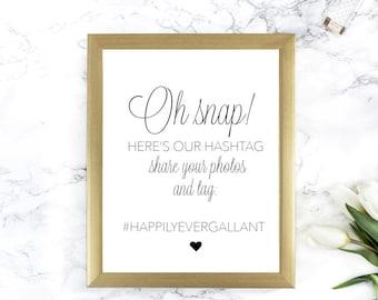 8.5 x 11 Oh snap Hashtag wedding reception sign - Hashtag sign - Wedding Hashtag - Wedding Hashtag Sign - Hashtag Wedding Sign - Hashtag