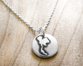Tiny map of Thailand necklace in silver, map jewelry, travel necklace