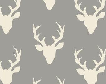 Deer Heads Fabric, Grey Buck Fabric, Quilting Fabric Deer, Art Gallery Fabric