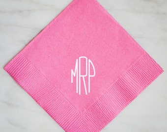 Modern Monogram Wedding Napkins, Personalized Beverage Napkins, Custom Monogrammed Napkins, Printed Napkins, Hostess Gift