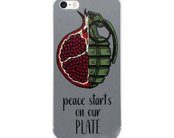 peace starts on our plate iPhone case [5/5s/se/6/6plus] grey