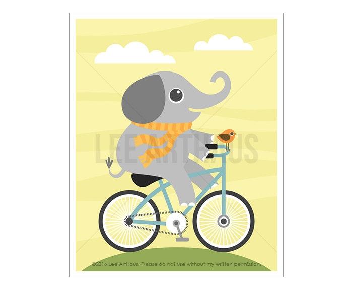 51A Elephant Wall Art Elephant on Bicycle Wall Art