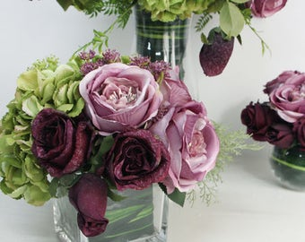 Luxury Rose and Green Hydrangea Flower Arrangement