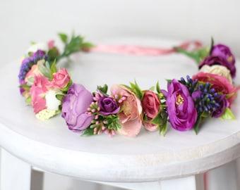 Purple bohemian wedding hair accessories flower girl headpiece spring flower crown flower girl halo toddler bride wedding floral headpiece
