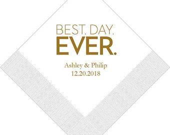 Set of 100 Bold Print Best Day Ever Napkins - Paper Napkin - Custom Napkins - Personalized Napkins - Engagement Party - Bridal Shower
