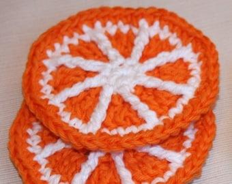 4 Crochet Orange Citrus Slices coaster mini doily