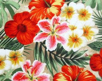 Fabric, Rainforest on Sandy Beach, Tropcial Hibiscus, Lillies and Ferns, Windham Fabrics, Last One Yard