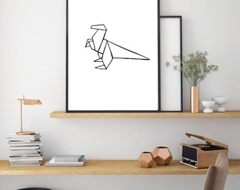 Dinosaur Print, Geometric Poster, Digital Print, Minimal Animal Art, Modern Wall Poster, Abstract Art, Home Decor, Black And White Print