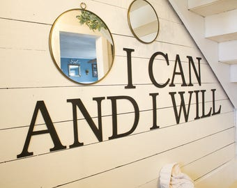 I Can And I Will Wall Sign Laser Cut Wood Wall Letters Farmhouse Home Decor