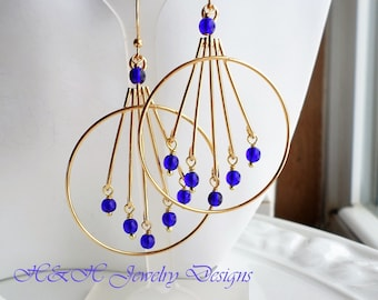 Cobalt Blue Gold Large Hoop Chandelier Earrings, Gold Hoop Dangle Earrings, Blue Sapphire Glass bead Chandelier Earrings, Blue Earrings